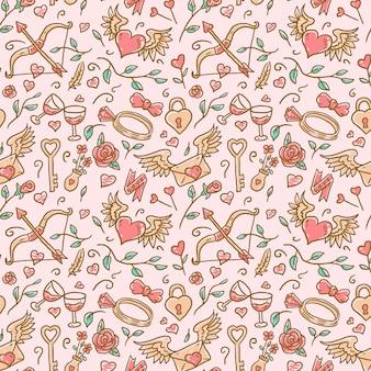 Het patroon van seamlaessvalentijnskaart, hand getrokken lijn met digitale kleur, illustratie