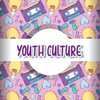 Het patroonachtergrond van de de jeugdcultuur met het leuke grafische ontwerp van de beeldverhalen vectorillustratie