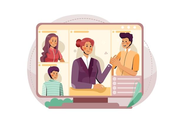 Het pc-scherm met de onlinevergadering van het concept van de illustratie van het kleine bedrijfsteam