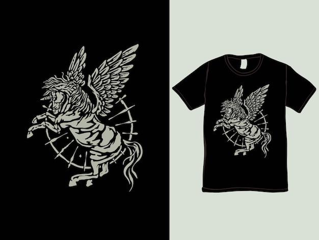 Het pegasus eenhoorn vintage t-shirtontwerp