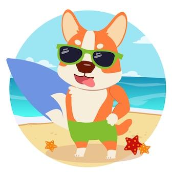 Het personage cartoon corgi klaar om zomer!