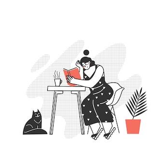 Het personage leest een boek. het meisje leest een boek aan tafel. graag modern schrijven lezen.