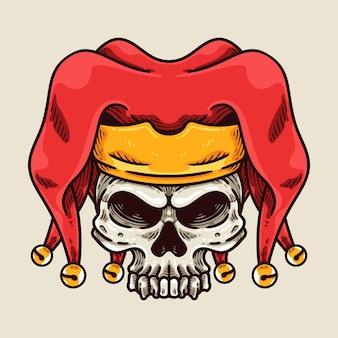 Het personage van de jester skull-mascotte