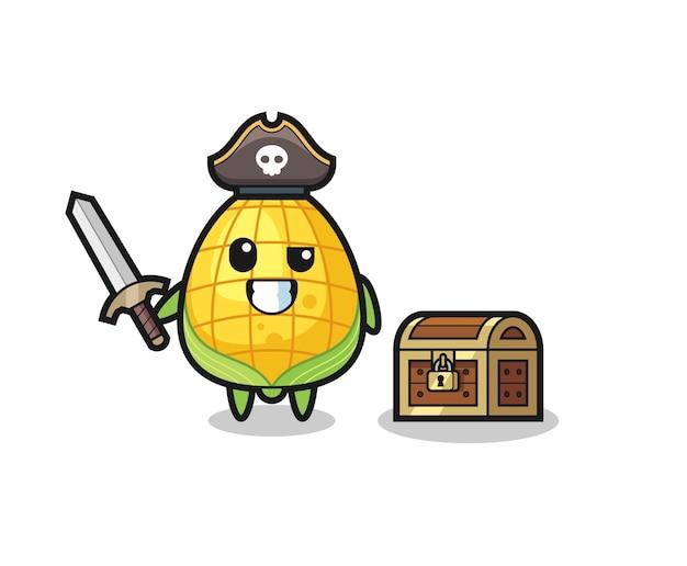 Het personage van de maïspiraat met zwaard naast een schatkist, schattig stijlontwerp voor t-shirt, sticker, logo-element