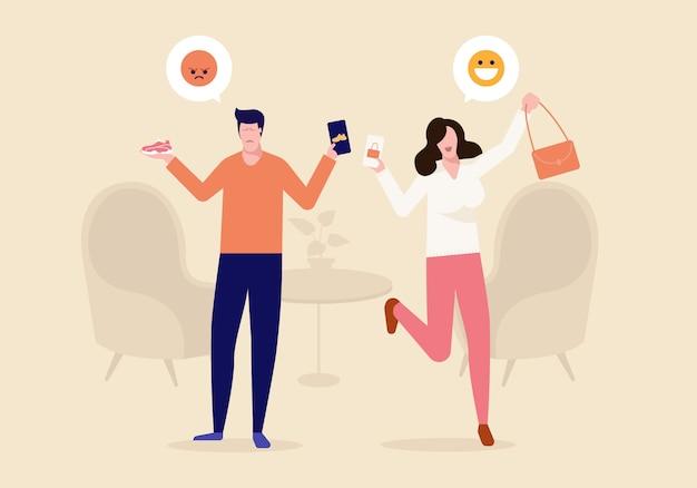 Het personage van de man krijgt het verkeerde kleurproduct en de vrouw heeft haar product tevredengesteld. winkelen online concept vectorillustratie.