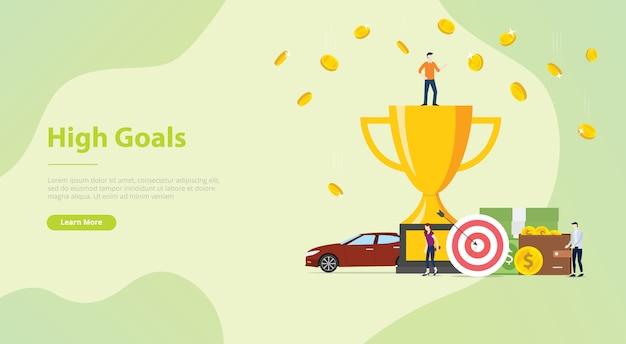 Het persoonlijke doelconcept van hoge doelen voor websitemalplaatje of het landen van ontwerphomepage