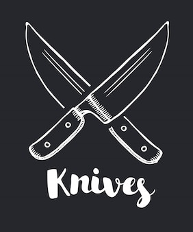 Het pictogram gekruiste messen. mes en chef-kok, keuken symbool. vlakke afbeelding