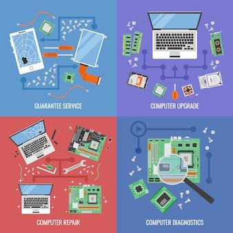 Het pictogram van de computerdienst met beschrijvingen van van de de computerupgrade van de garantiedienst de computerreparatie en diagnostische vectorillustratie wordt geplaatst die