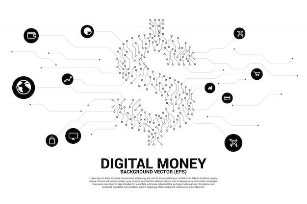 Het pictogram van de gelddollar van punt verbindt lijnschakelingsraad