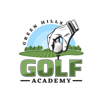 Het pictogram van de golfsportacademie, het kampioenschap van de golferclub van het vectorembleem van het ligateam golfclubtoernooibeker, sportrecreatieactiviteit en trainingsbaansymbool, met golfbal op pin