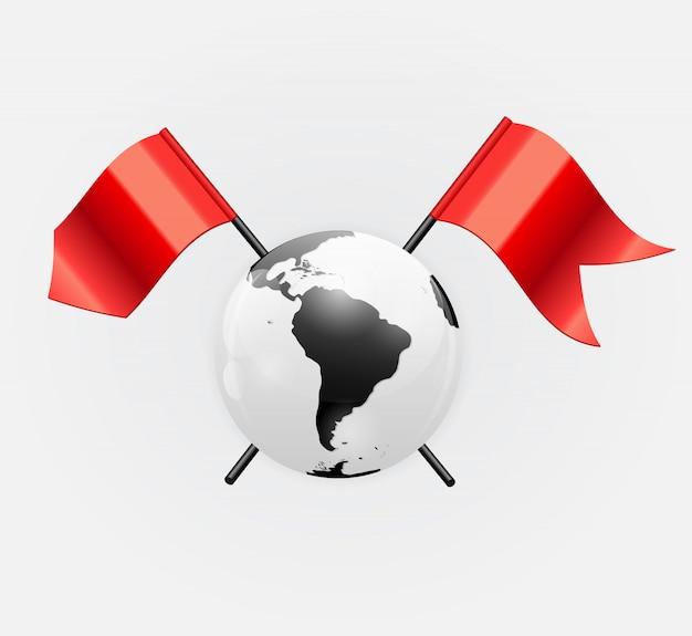 Het pictogram van de planeet aarde met rode vlag