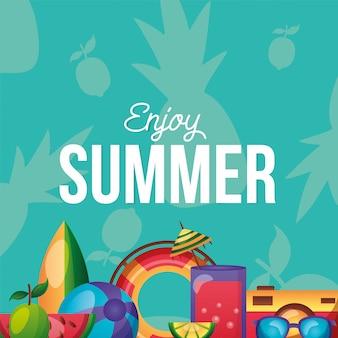 Het pictogram van de zomer dat aan keerzijde vectorontwerp wordt geplaatst