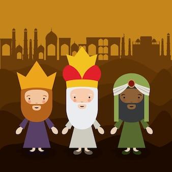 Het pictogram van drie wisemen cartoons