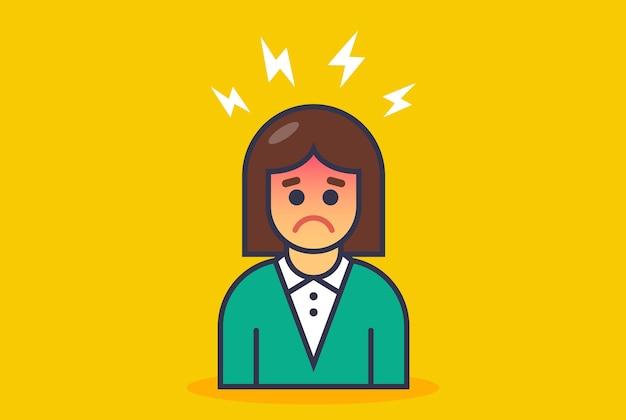 Het pictogrammeisje heeft hoofdpijn. platte vectorillustratie geïsoleerd