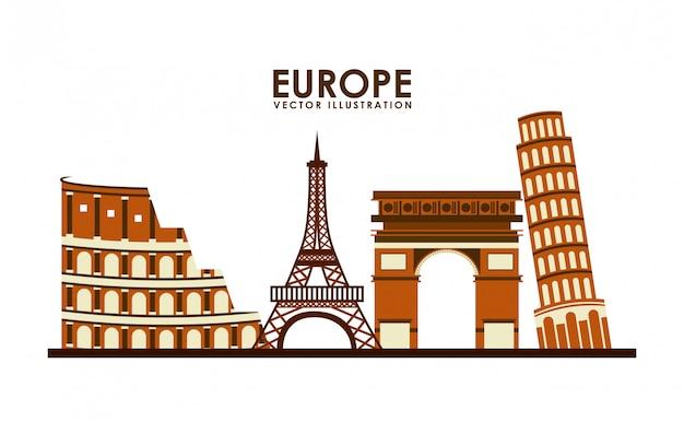 Het pictogramontwerp van europa, vector grafische illustratie eps10