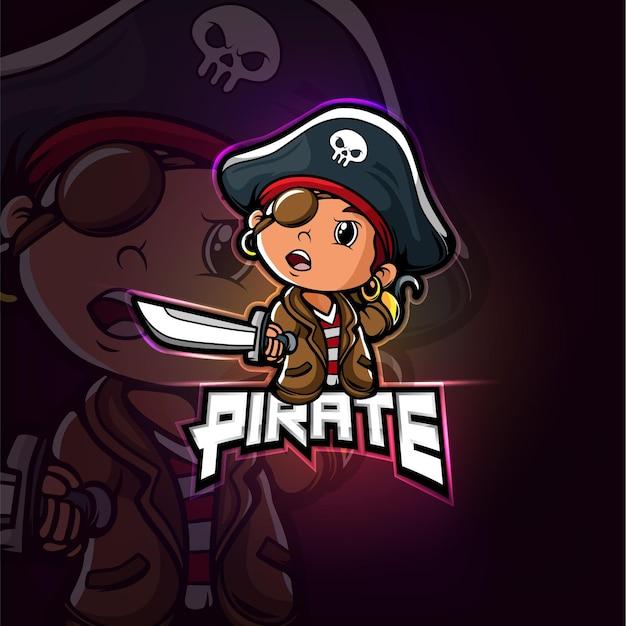 Het piraat mascotte esport logo-ontwerp