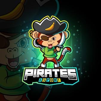 Het piraten aap esport logo-ontwerp van illustratie
