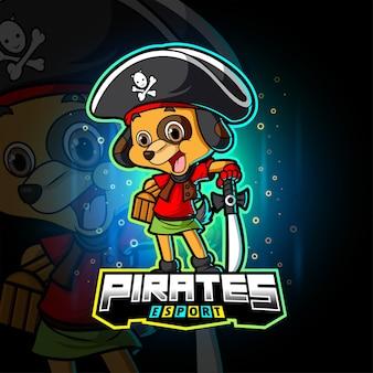 Het piratenhond esport-logo-ontwerp van illustratie