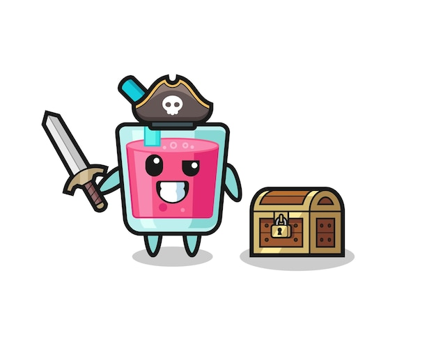 Het piratenkarakter van aardbeiensap met zwaard naast een schatkist, schattig stijlontwerp voor t-shirt, sticker, logo-element