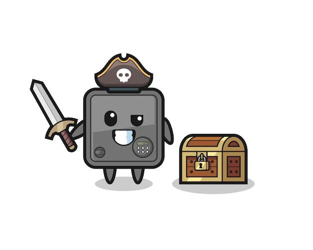 Het piratenkarakter van de kluis met zwaard naast een schatkist, schattig stijlontwerp voor t-shirt, sticker, logo-element