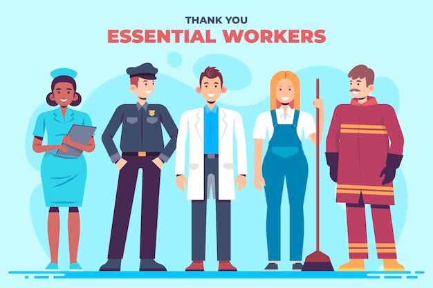 Het platte ontwerp bedankt essentiële werknemers