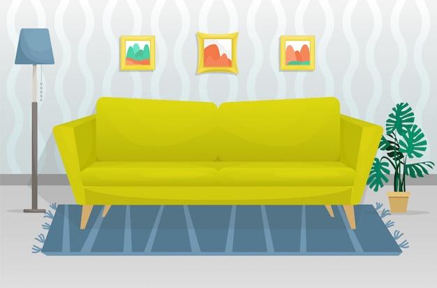 Het platte trendy interieur is voorzien van een bank met houten poten en foto's aan de muur. vlakke afbeelding