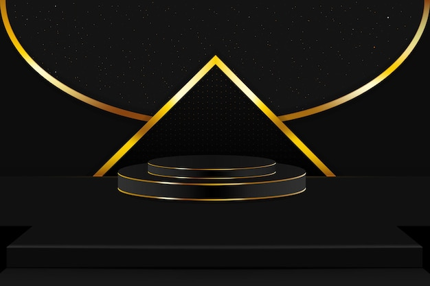 Het podium en podium in goud en zwart met een sprankje fonkelende sterren