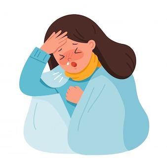 Het portret van vrouw wordt ziek. ze hoest en lijdt aan pijn op de borst. coronavirus 2019-ncov griep gezondheid en medisch. illustratie.