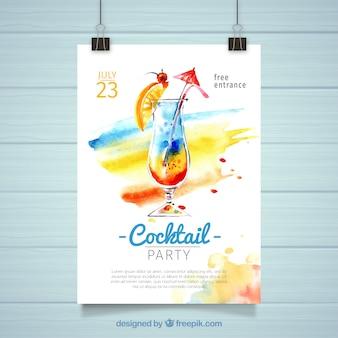 Het poster van de cocktailpartij van de waterverf