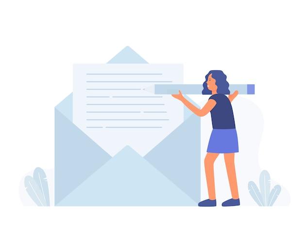 Het potlood van de bedrijfsvrouwengreep en schrijf nieuw e-mailbericht, postmelding.