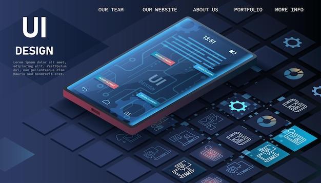Het proces van het ontwikkelen van de site-interface.