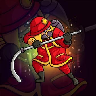 Het professionele brandweerman esport-mascotteontwerp van illustratie
