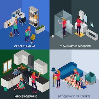 Het professionele opruimen van bureau en flat chemisch reinigen van geïsoleerd tapijten isometrisch concept