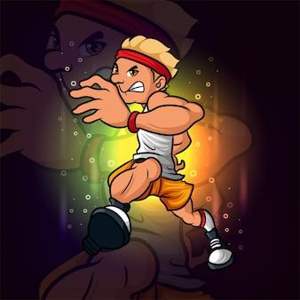 Het professionele running man esport-mascotteontwerp van illustratie