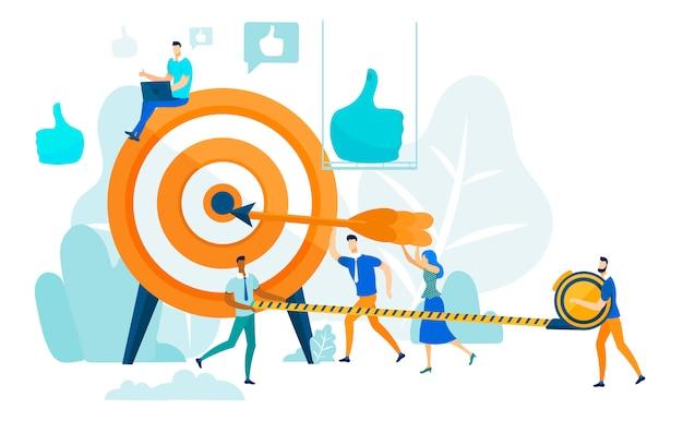 Het raken van target, leiderschap en teamwork concept.
