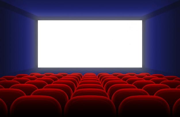 Het realistische binnenland van de bioscoopzaal met het lege witte scherm en rode zetels vectorillustratie