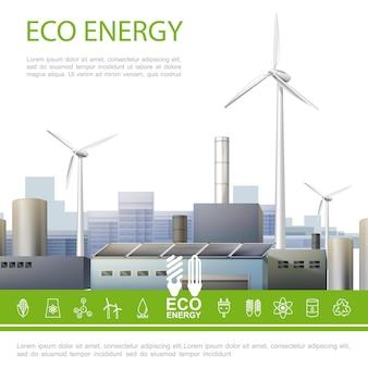 Het realistische kleurrijke concept van de eco-energie met de windmolens van de ecologiefabriek en de ecologische illustratie van elektriciteitspictogrammen
