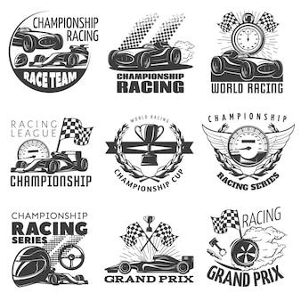 Het rennen embleem plaatste met beschrijvingen van kampioenschap het rennen wereld die grand prix vectorillustratie rennen