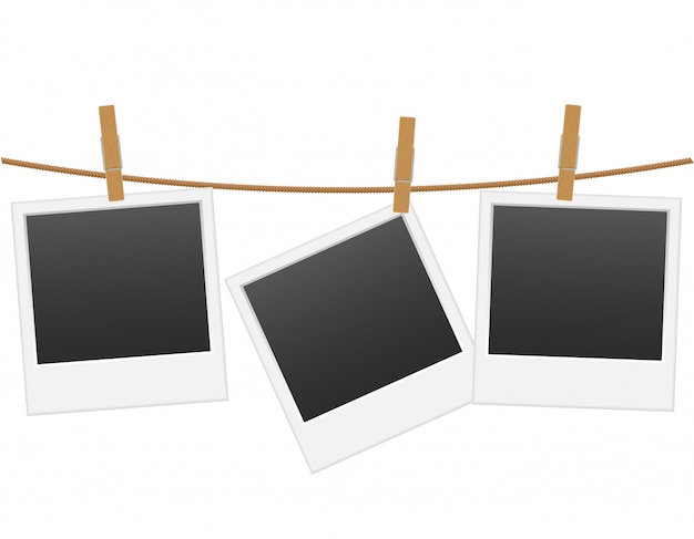 Het retro fotokader hangen op een kabel met wasknijper vectorillustratie