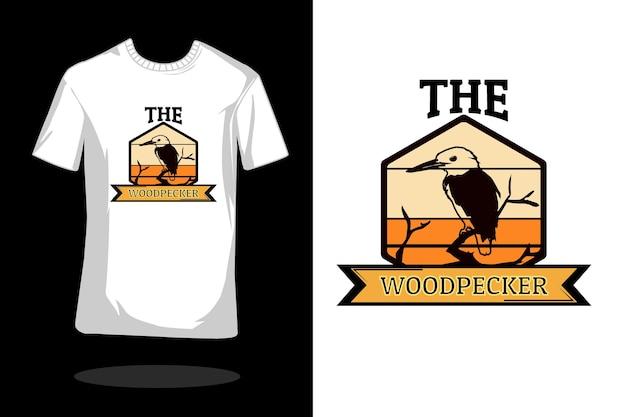 Het retro t-shirtontwerp van het spechtsilhouet