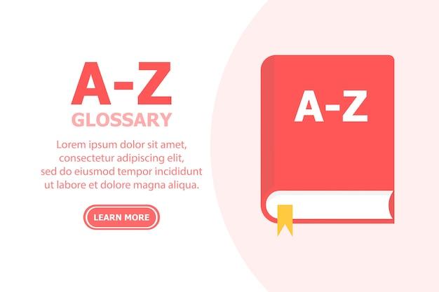 Het rode boek az glossary wordt afgebeeld op een witte achtergrond en de tekst staat links.