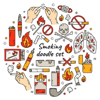 Het roken van sigaretten circulaire doodle stijl illustratie