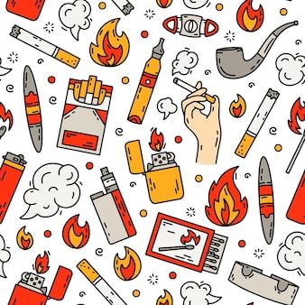 Het roken van sigaretten hand tekenen van naadloze patroon