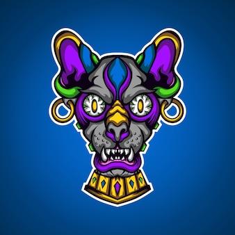 Het roofzuchtige woestijnkat-gamingmascotte-logo