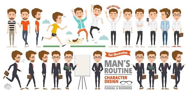 Het routinekarakter van de man in casual en zakelijke kledingstijl