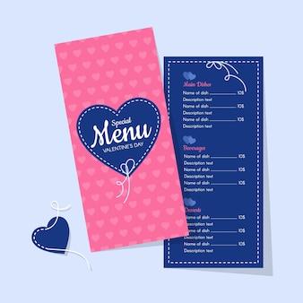 Het roze en blauwe menu van de restaurantvalentijnskaart