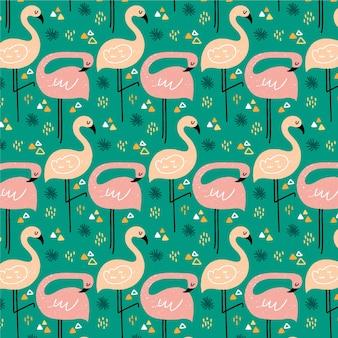 Het roze geïllustreerde patroon van de flamingovogel