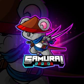 Het samurai koala esport logo-ontwerp van illustratie