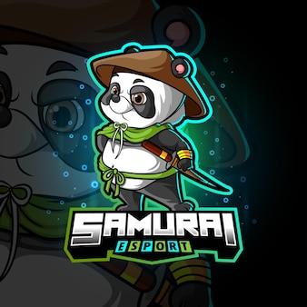 Het samurai panda esport logo-ontwerp van illustratie