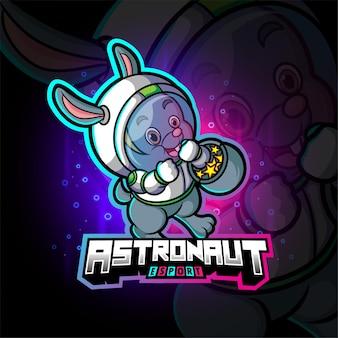 Het schattige astronautenkonijn esport-logo-ontwerp van illustratie
